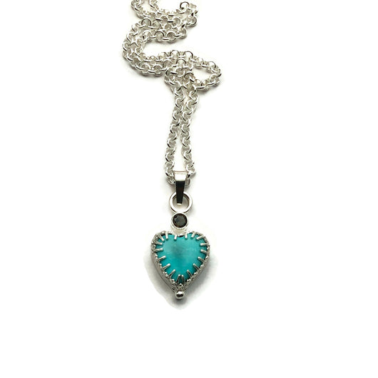 Grateful Heart Necklace Turquoise with Smoky Quartz