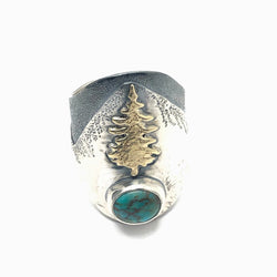 lone pine saddle ring with turquoise gemstone