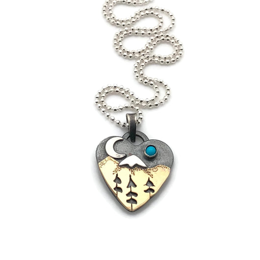 Alpine Heart Necklace Mixed Metals