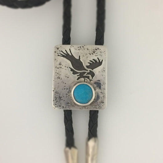 Sterling Silver with Turquoise Bolo Tie, Wildlife Series Bald Eagle Landing, Turquoise Bolo Tie