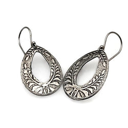 Sheltering Ferns Teardrop Hoop Earrings in Sterling Silver