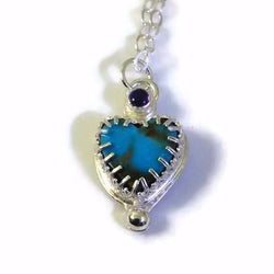 Turquoise and Amethyst Grateful Heart Necklace