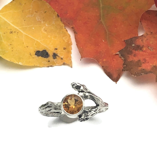 Sterling Silver Twig Ring with Yellow Citrine Gemstone Size 7