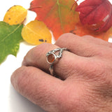 Sterling Silver Twig Ring with Lake County, Oregon Fire Opal Size 7