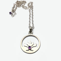 Lotus Blossoms in Sterling Silver with Amethyst Gemstone