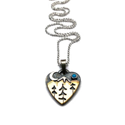 Alpine Heart Small - Sterling Silver and Brass - Tree Triplets