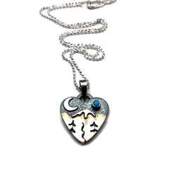Alpine Heart Small - Sterling Silver and Brass - Stream and Trees