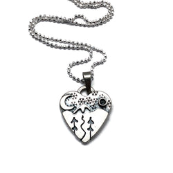 Small Alpine Heart - Trees and Stream - Let It Snow - Sterling Silver
