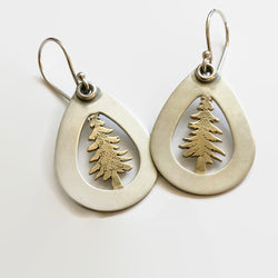 Pine Tree Earrings in Mixed Metals of Sterling Silver and Brass