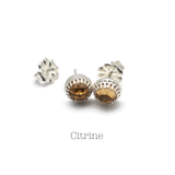 Rose Cut Citrine Gemstone Stud Earrings