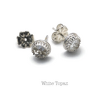 Rose Cut White Topaz Stud Earrings