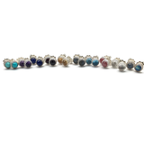 Gemstone Stud Earrings in Sterling Silver - 6mm Diameter
