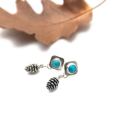 pine cone earrings sterling silver and turquoise