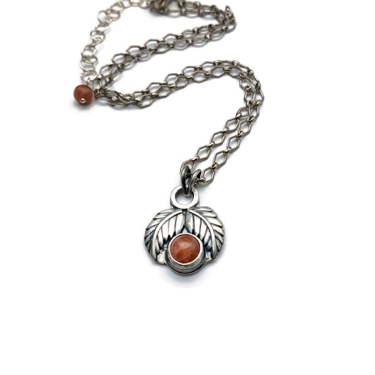 Leaf Blossoms Necklace Sunstone and Sterling Silver