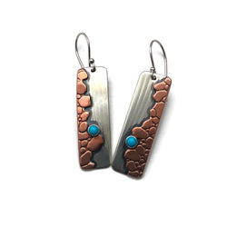 River Crossing Earrings Mixed Metals and Turquoise