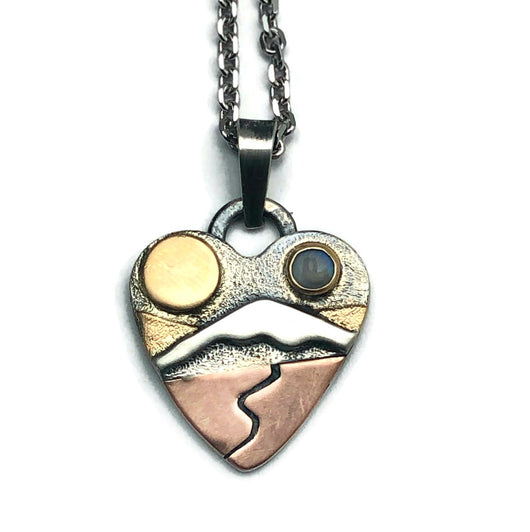 Golden Hills of Sterling Silver 14K Yellow Gold and 14K Pink Gold Small Alpine Heart Necklace