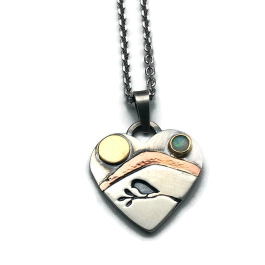 Alpine heart sterling silver with 18k yellow gold, 14k pink gold, opal