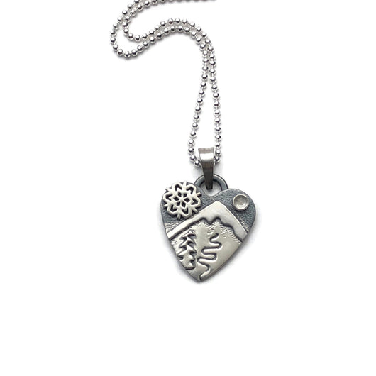 Small Alpine Heart - Winter Tracks - Sterling Silver and White Topaz