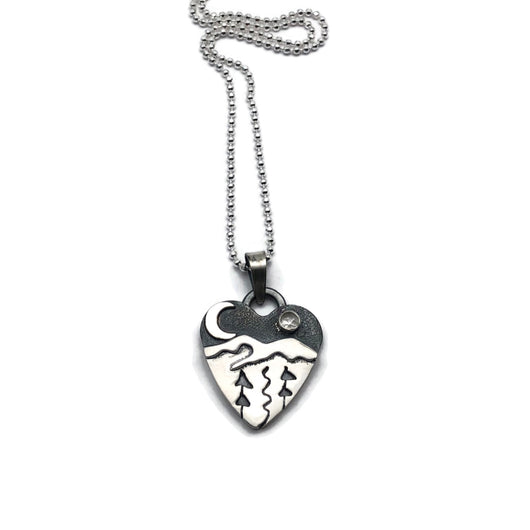 Alpine Heart - Small - Watching the River Run- Sterling Silver with White Topaz