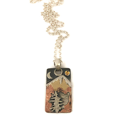 Alpine Necklace - Rectangular Tag Pendant - Mixed Metals