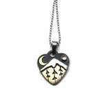 Alpine Heart - Small - Three Trees - Sterling Silver and Brass with White Topaz