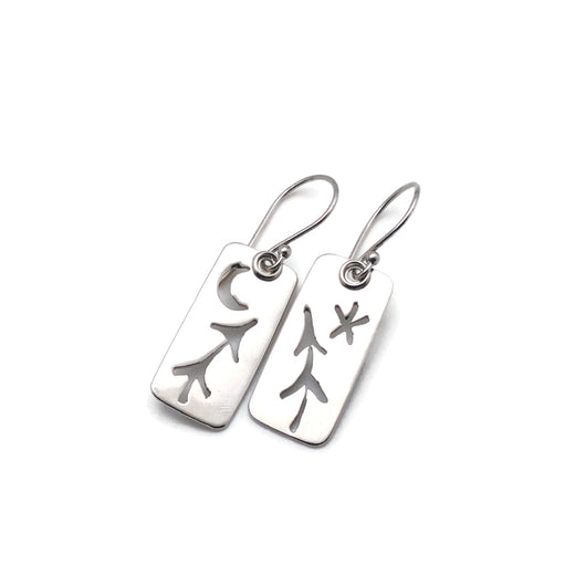 sterling silver nature pine tree earrings