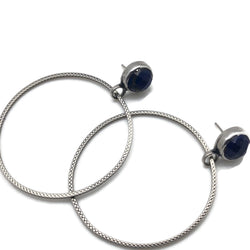 lapis lazuli and sterling silver hoop earrings