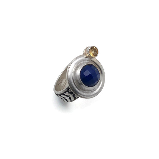 sterling silver, lapis lazuli and citrine botanical ring