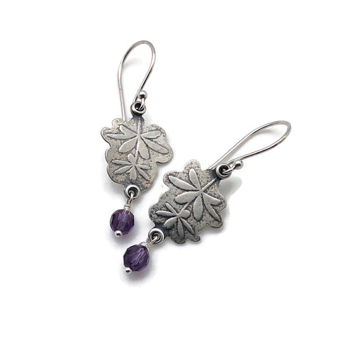 Sterling Silver Botanical Earrings with Amethyst Gemstone Drop