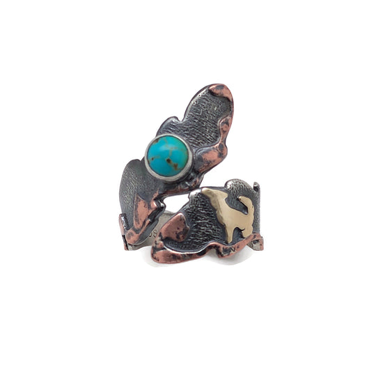 Exclusively for Kristen - Howl Ring Mixed Metals Sterling Silver, Copper, Brass and Sonoran Gold Turquoise