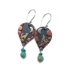 Howl Mixed Metal Earrings with Turquoise