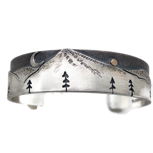 sterling silver alpine cuff bracelet with 18k gold star