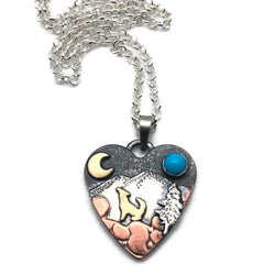 Alpine Heart - Howl - Medium - Mixed Metals Sterlng Silver, Copper, Brass, Sleeping Beauty Turquoise