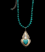 Love Grows - Mixed Metals Pine Tree and Turquoise Heart