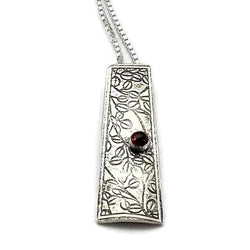 Botanical Garden Necklace Sterling Silver with Garnet