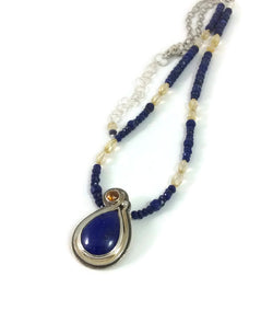 Midnight Blues Lapis Lazuli and Citrine Necklace