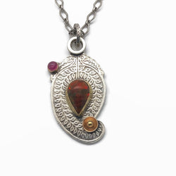 Ethiopian Opal and Pink Tourmaline Paisley Necklace