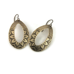 Petal Power Teardrop Hoop Earrings in Brass