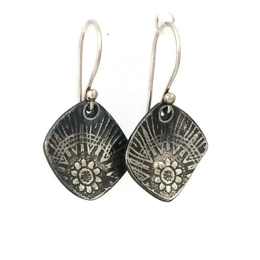 Sterling Silver Flower Roller Printed Earrings