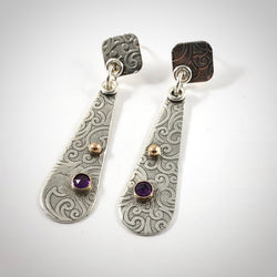 Sterling Silver and 14k Gold Drop Earrings With Amethyst Gemstone