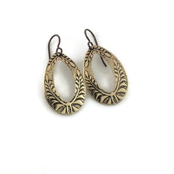 Sheltering Ferns Teardrop Hoop Earrings in Brass