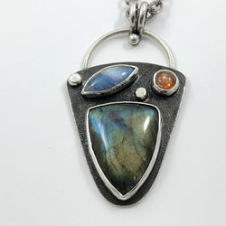 Three Sisters Pendant - Sterling Silver with Labradorite, Rainbow Moonstone, Sunstone
