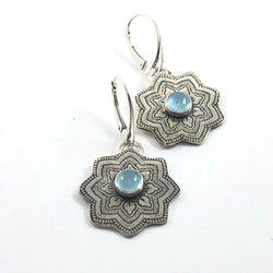 Sterling Silver Mandala Earrings With Aquamarine Gemstone