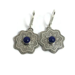 Woodlands Mandala Earrings Lapis Lazuli