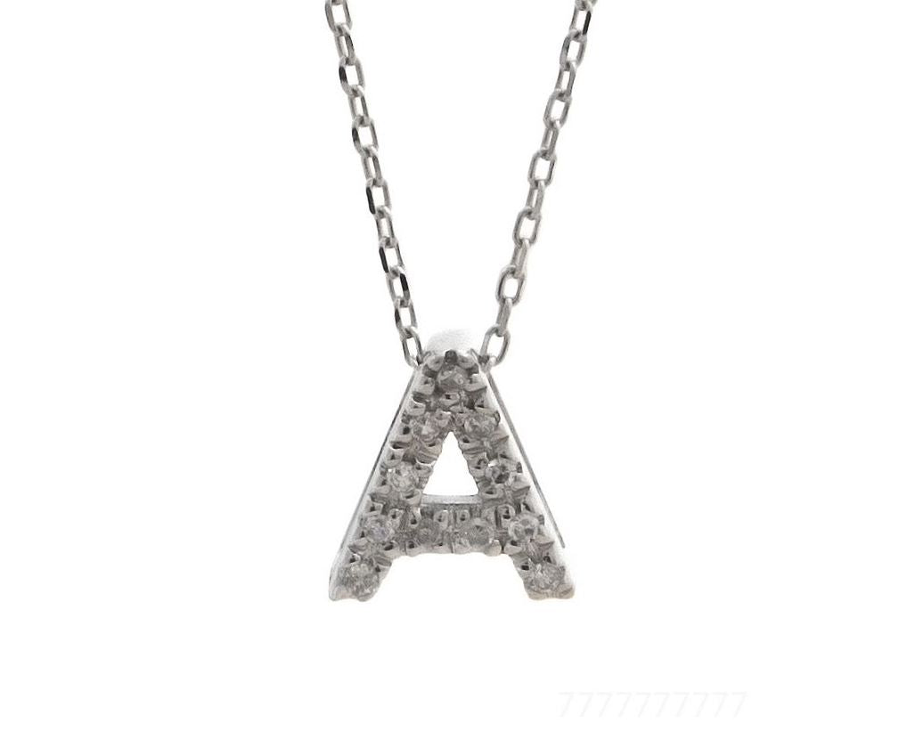 """14K Solid White Gold Block Initial /""""Q/"""" Letter Charm Pendant /& Necklace"""