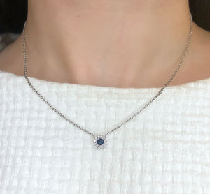Blue sapphire diamond halo necklace