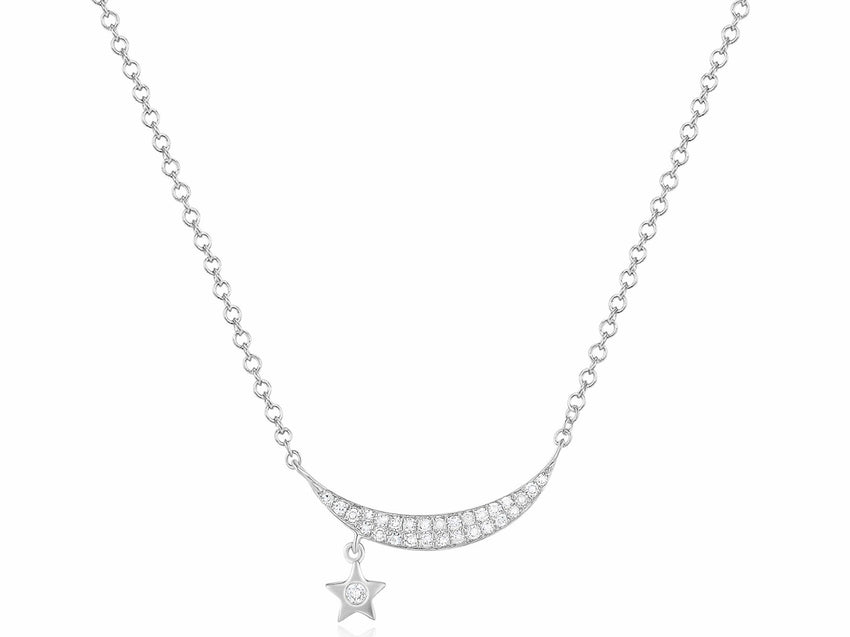Crescent Star Hanging Necklace