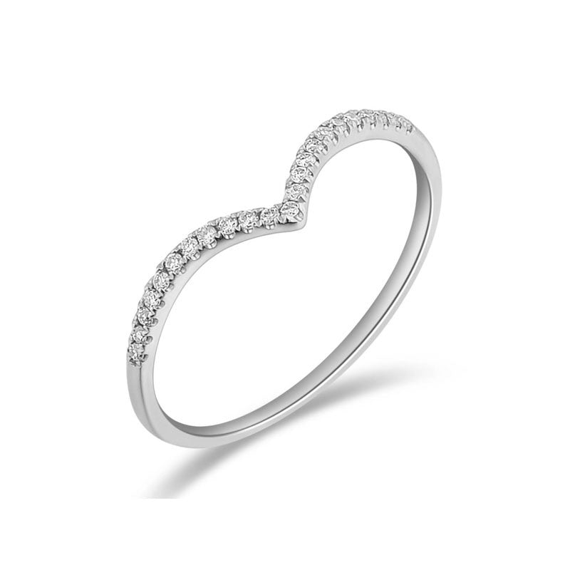 Diamond Curved V Ring