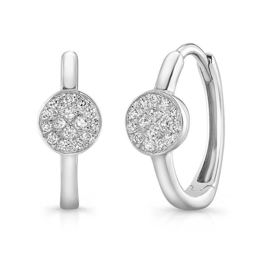 Diamond Disc Huggie Earring