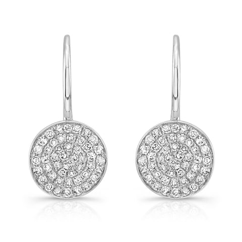 Diamond Disc Leverback Earring